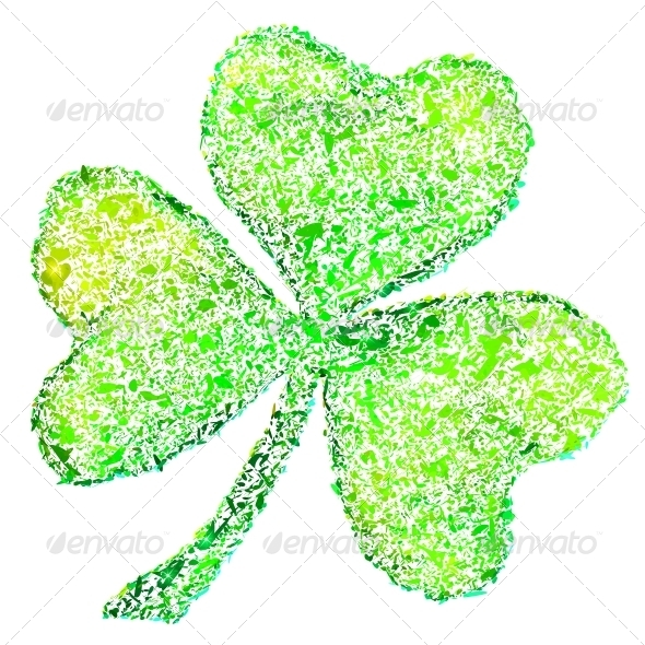 Isolated Green Clover on White - Miscellaneous Seasons/Holidays