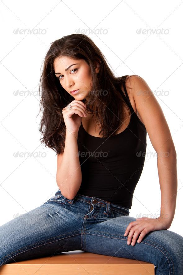 Beautiful posing fashion woman - Stock Photo - Images