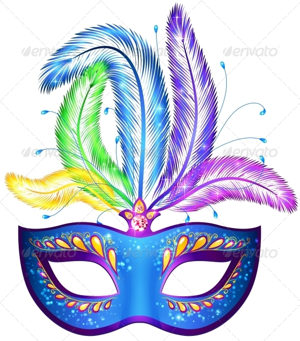 Vector Venitian Carnival Mask with Feathers - Patterns Decorative