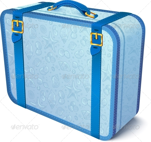 Blue Ornate Traveler's Vector Suitcase - Travel Conceptual