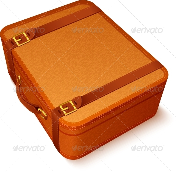 Vector Traveller's Brown Leather Suitcase - Travel Conceptual