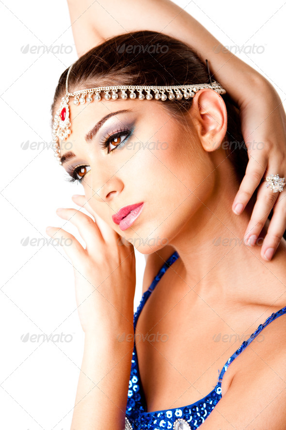 Middle Eastern Makeup Beauty Face with hands - Stock Photo - Images