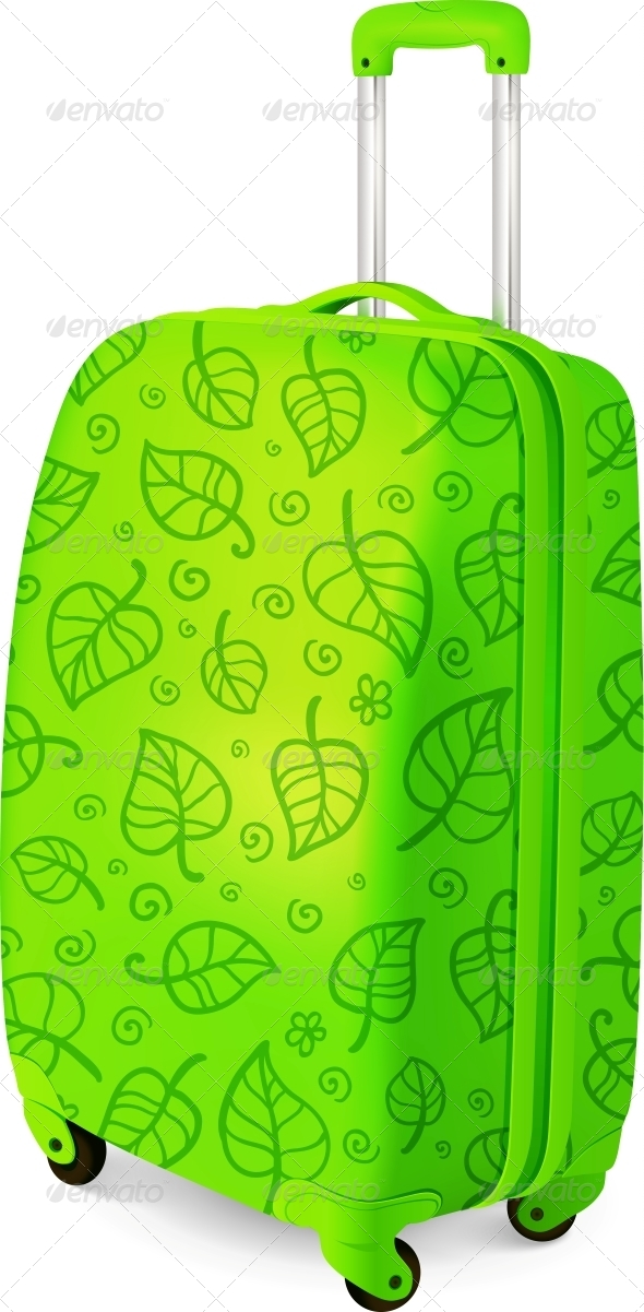 Green Vector Travelling Baggage Suitcase - Travel Conceptual