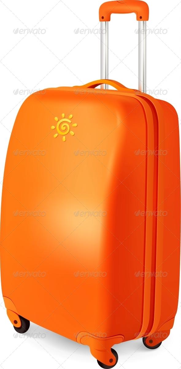 Orange Vector Travelling Baggage Suitcase - Travel Conceptual