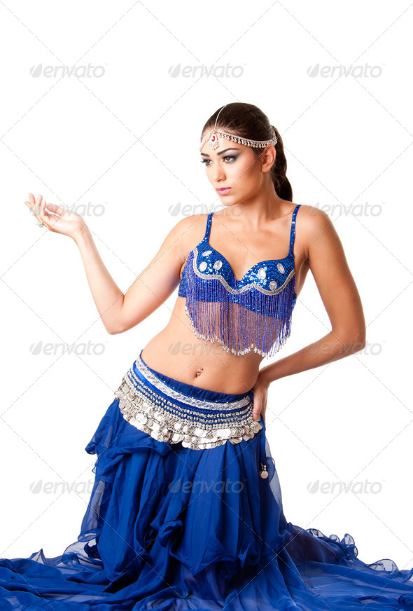 Fashion Belly dancer sitting on knees - Stock Photo - Images