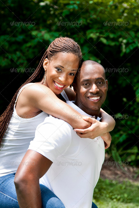Happy smiling African couple - Stock Photo - Images