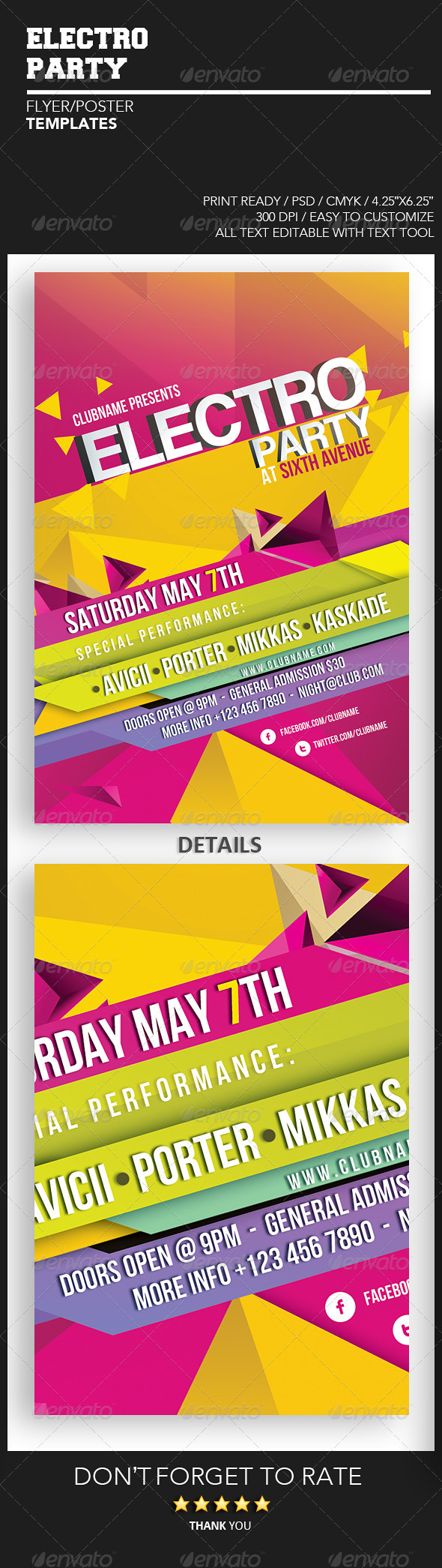 Electro Party Flyer Template - Events Flyers