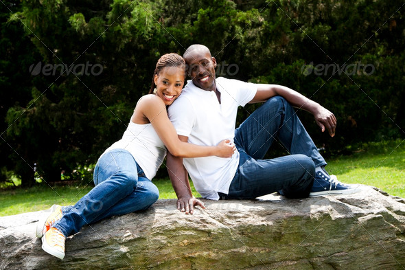 Fun happy smiling couple in love - Stock Photo - Images