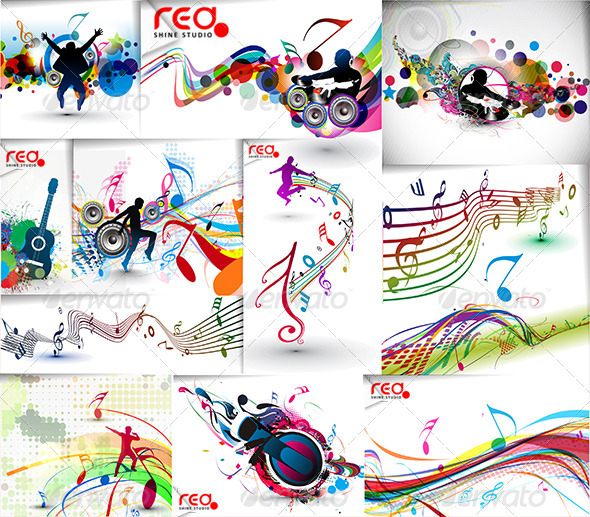 Colorful Party Music Vector - Backgrounds Decorative