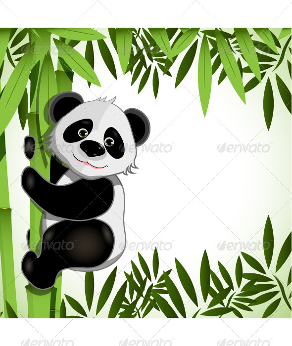 Cheerful Panda on Bamboo - Animals Characters