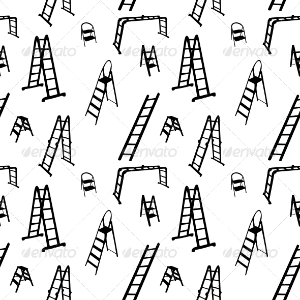 Seamless Pattern of Ladder Silhouette. Vector - Buildings Objects