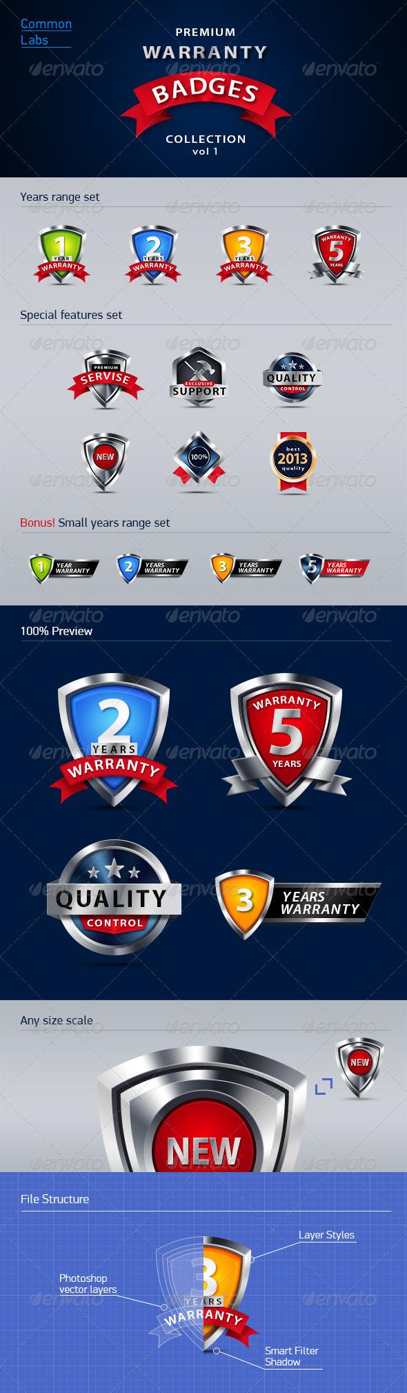 Premium Warranty Badges Collection Vol. 1 - Badges & Stickers Web Elements