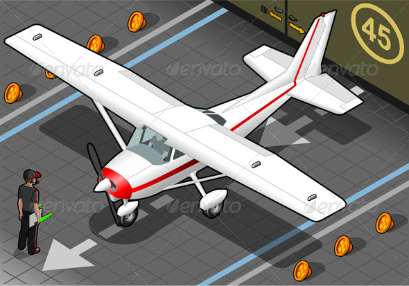 Isometric White Plane in Front View - Objects Vectors