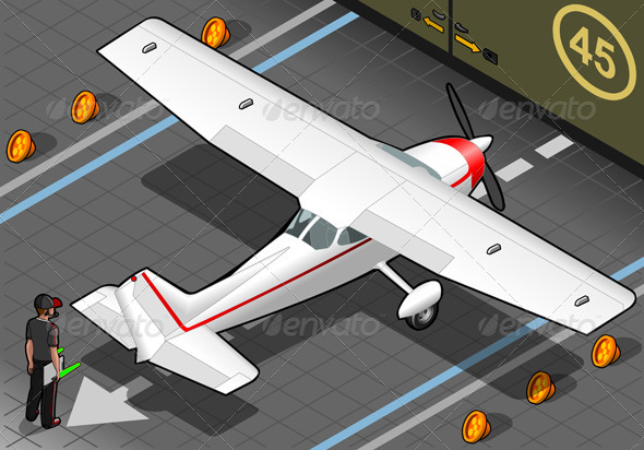 Isometric White Plane in Rear View - Objects Vectors