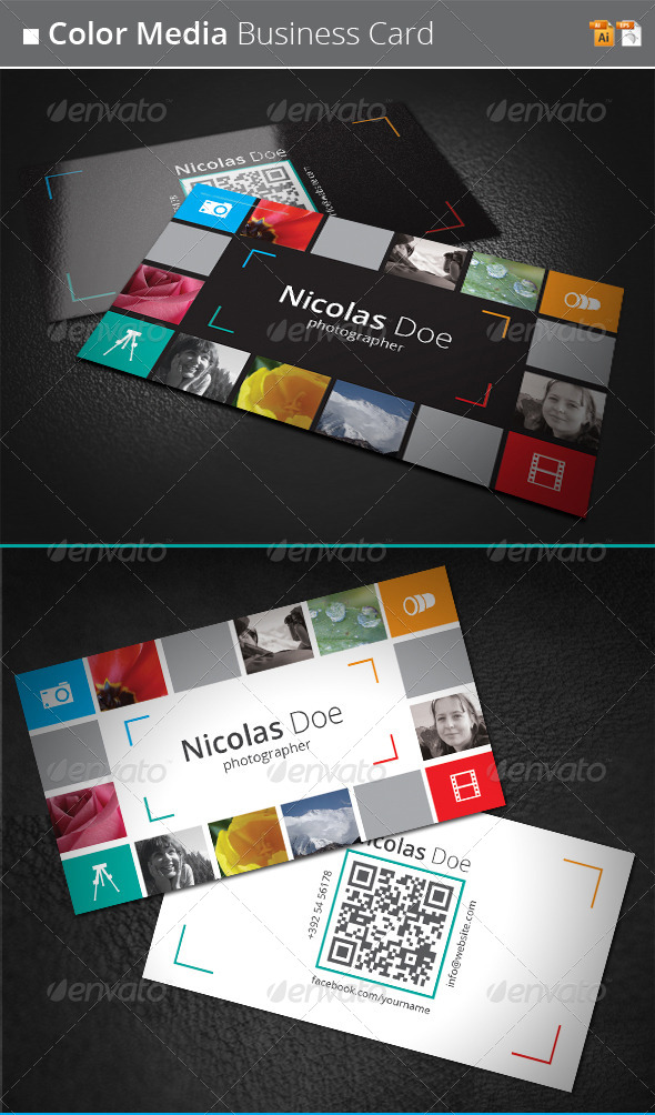 Color Media Business Card - Creative Business Cards