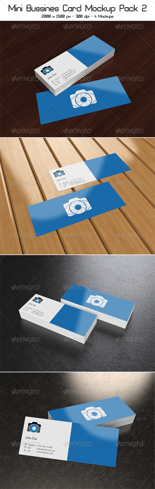 Mini Business Card Mock-Up Pack 2 - Business Cards Print