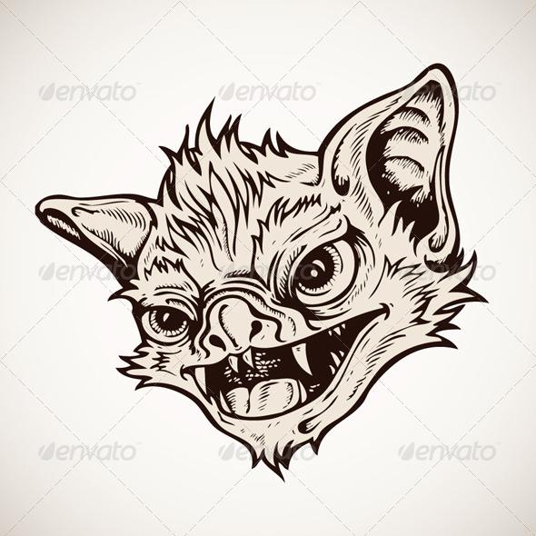Head Bat Vector - Animals Characters