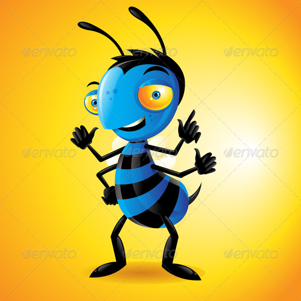 Character Bee Yellow - Characters Vectors