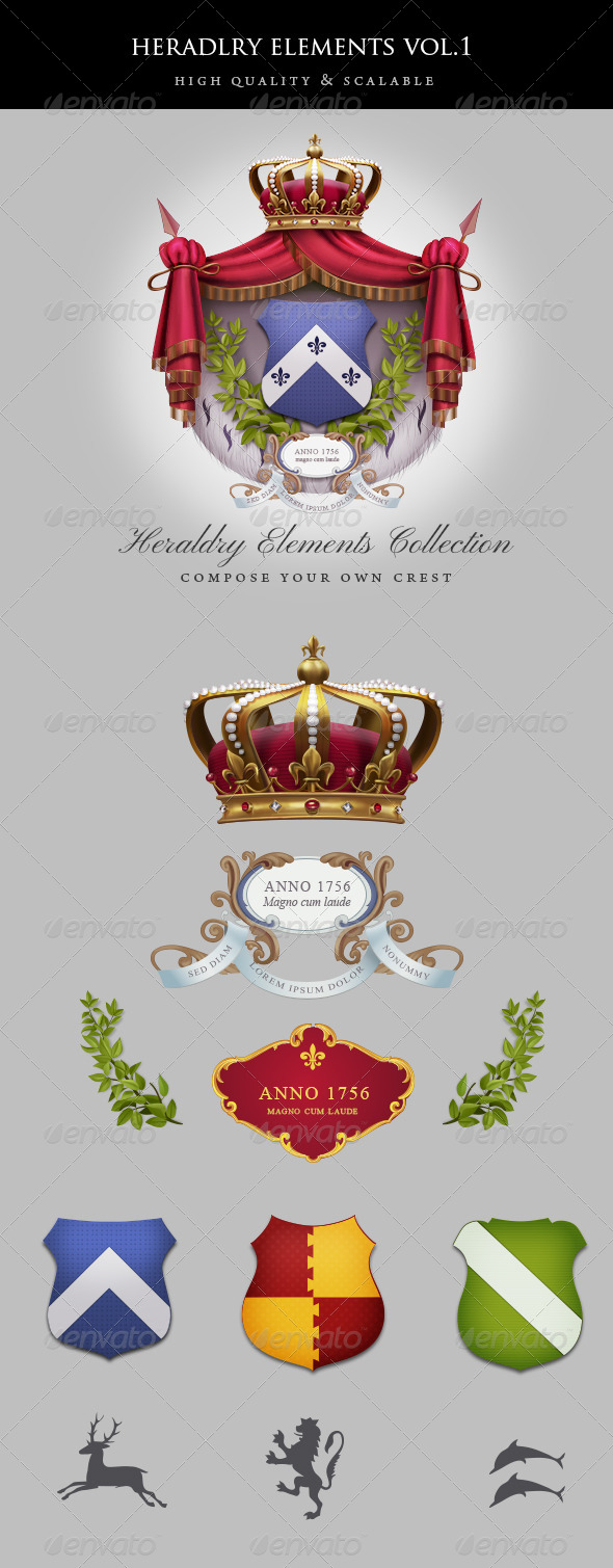 Vintage Heraldry Elements - Miscellaneous Graphics