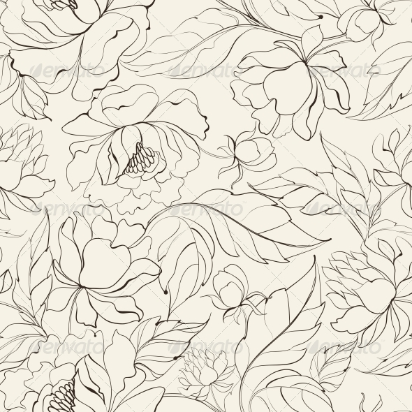 Seamless Floral Pattern with Peony. - Flowers & Plants Nature