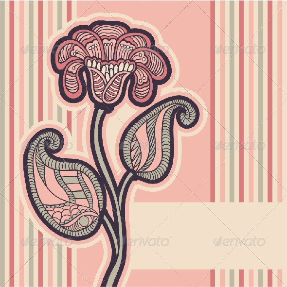 Greeting Card with Pink Flower - Seasons/Holidays Conceptual
