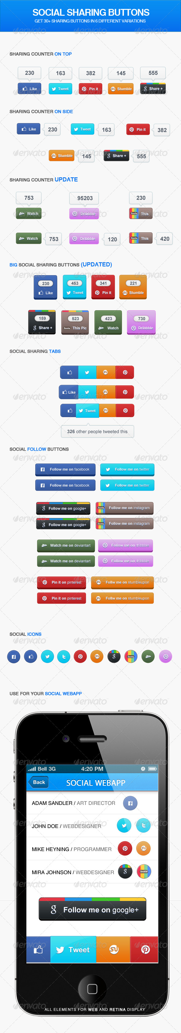 Social Sharing Buttons - Buttons Web Elements