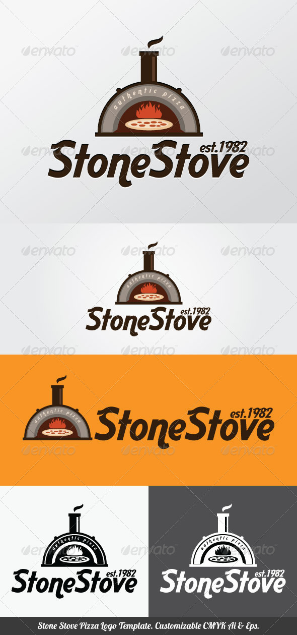 Stone Stove Pizza Logo Template - Food Logo Templates
