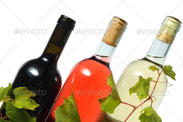three wine bottles - Stock Photo - Images