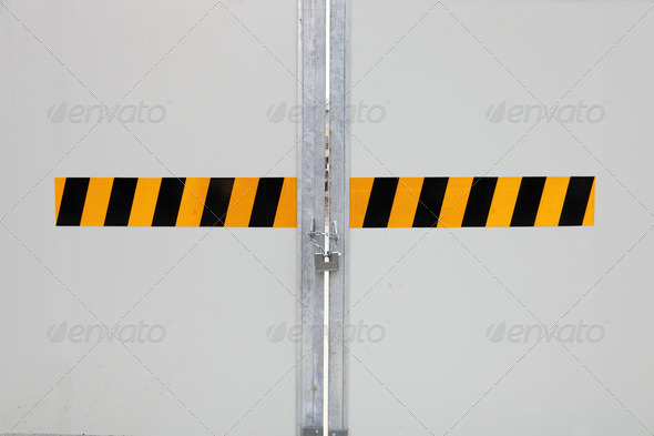 closed gate in construction site - Stock Photo - Images