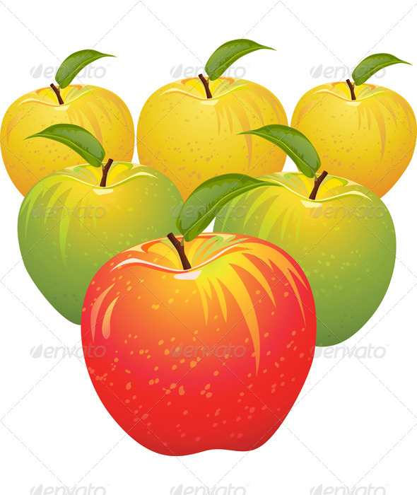Vector set of colorful apples - Food Objects