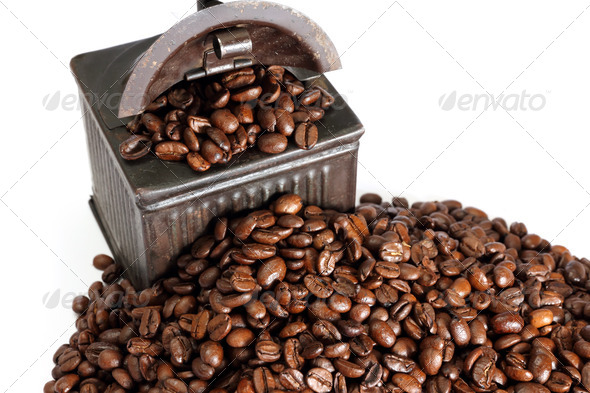 vintage coffe grinder and beans - Stock Photo - Images
