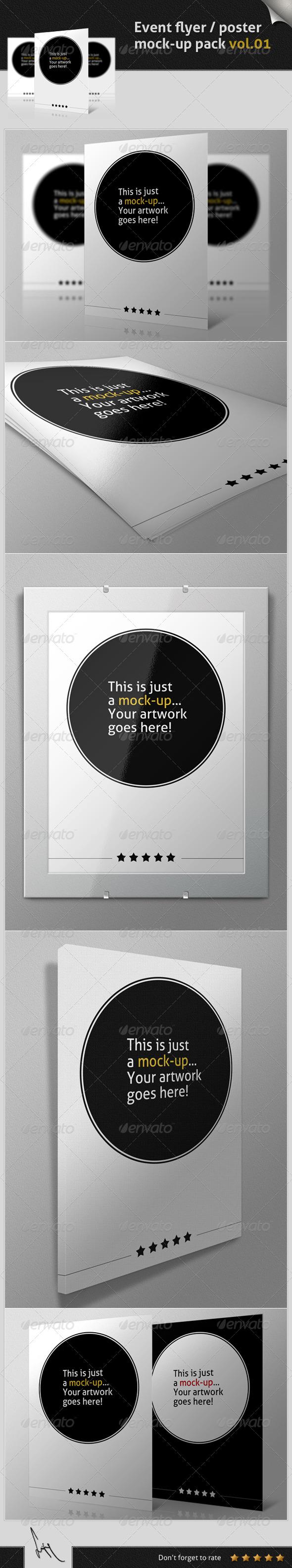 Event Flyer / Poster Mock-up Pack Vol.01 - Flyers Print
