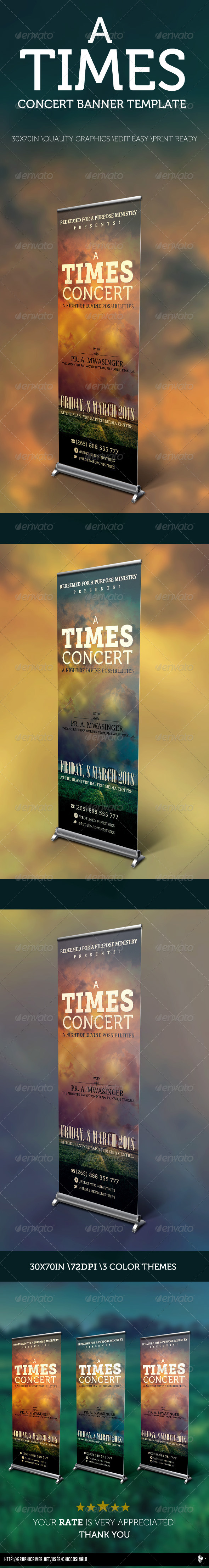 A Times Concert Banner Template - Signage Print Templates