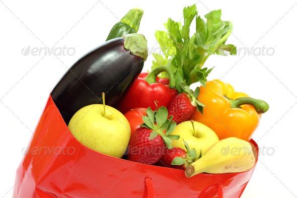 shopping bag with veggetables - Stock Photo - Images