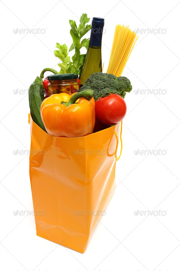 shopping bag with groceries - Stock Photo - Images