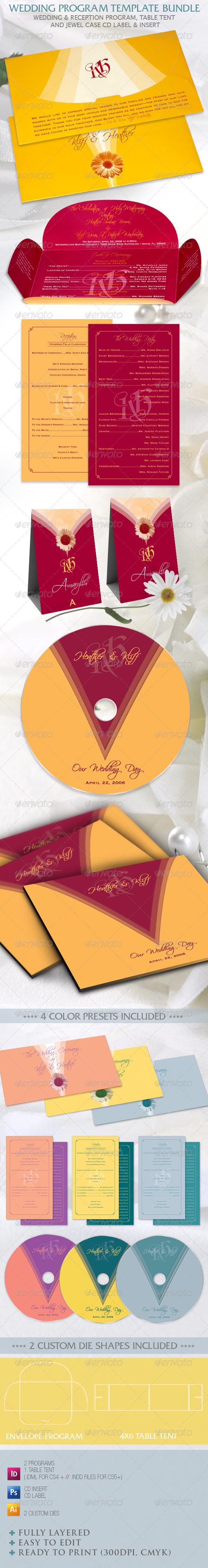 Wedding Program Template Bundle - Weddings Cards & Invites
