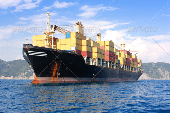 transportation, containers ship - Stock Photo - Images