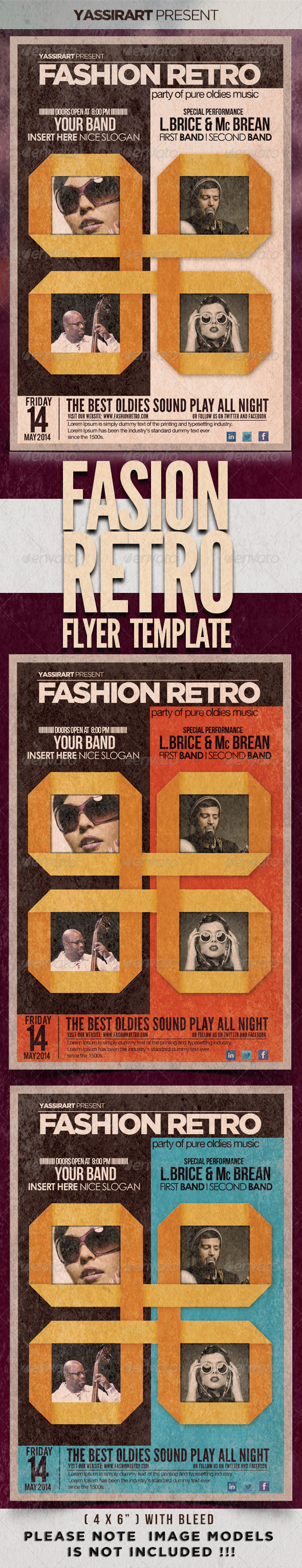 Fashion Retro Flyer Template - Flyers Print Templates