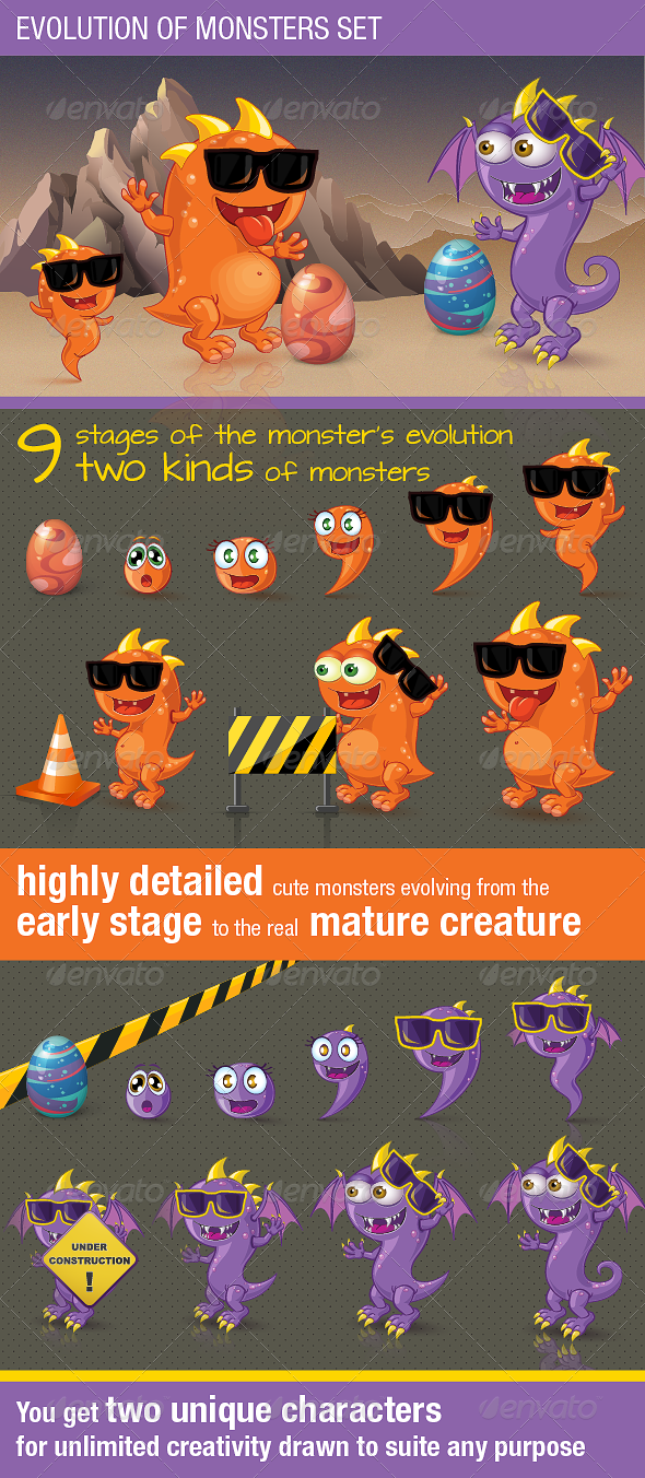 Evolution of Monsters Set - Monsters Characters