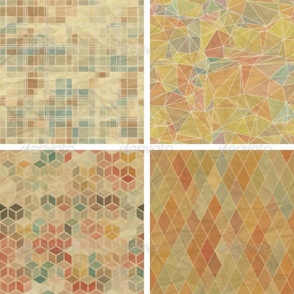 Seamless Abstract Geometric Patterns Set. - Patterns Decorative