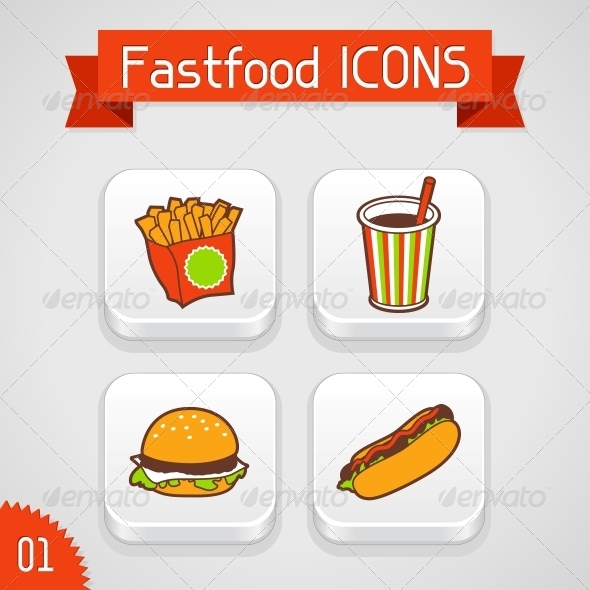 Collection of Apps Icons. Set 1. - Food Objects