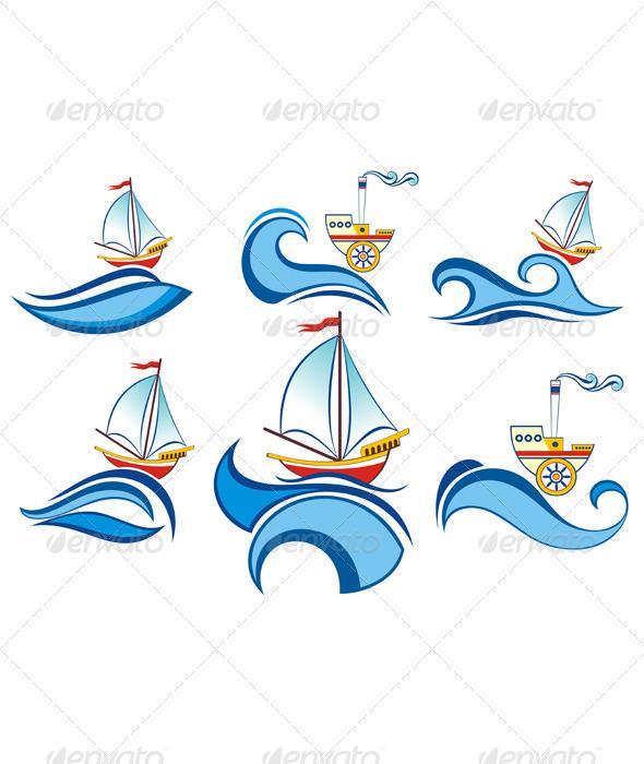 Boat and Waves Design - Decorative Symbols Decorative