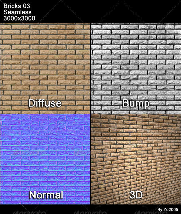 Bricks 03 Tileable - 3DOcean Item for Sale