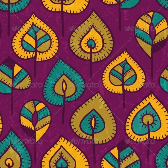 Seamless Pattern with Stylized Leaves. - Patterns Decorative