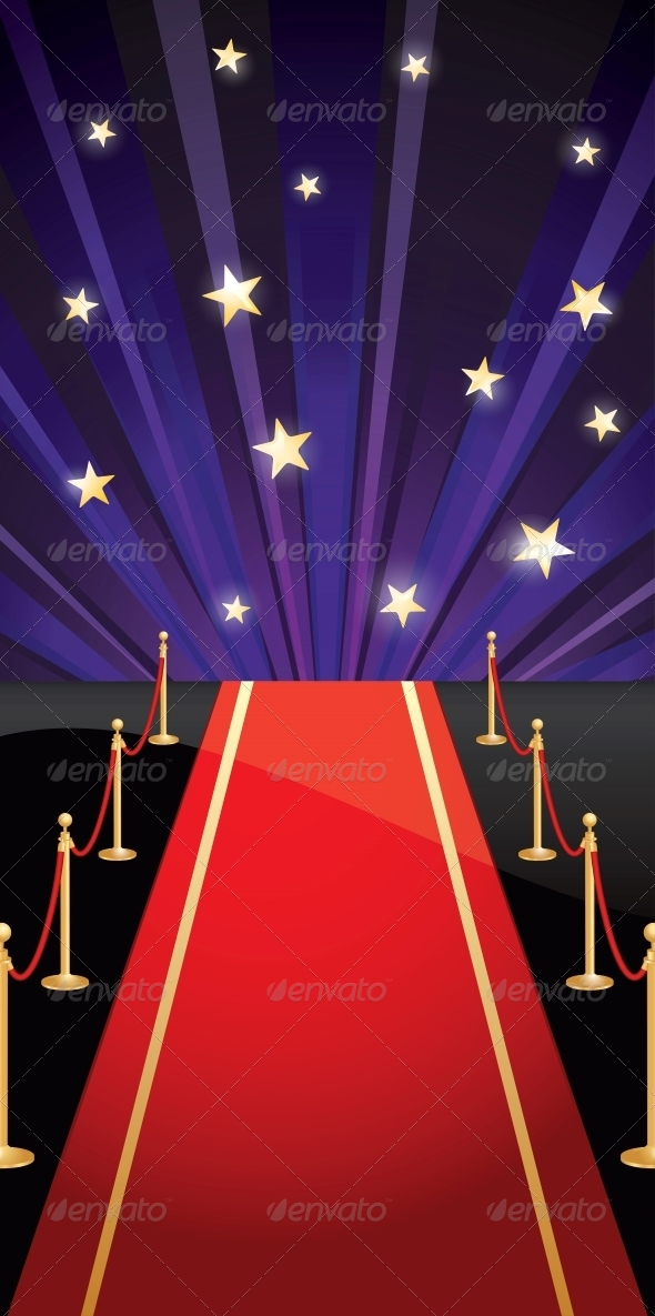 Vector Background with Red Carpet and Stars - Miscellaneous Vectors