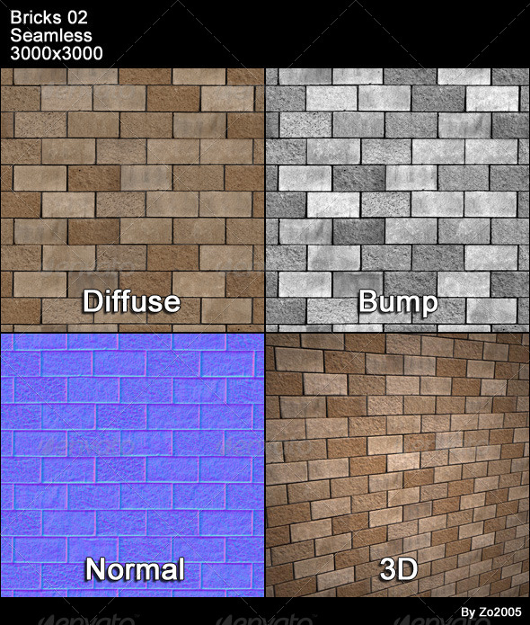 Bricks 02 Tileable - 3DOcean Item for Sale