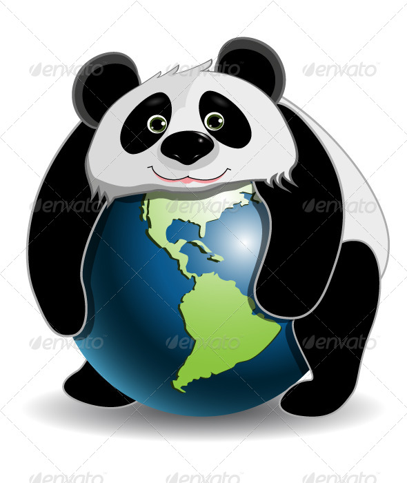 Panda on the Globe - Animals Characters