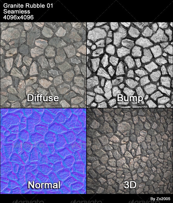 Granite Rubble Texture Tileable - 3DOcean Item for Sale