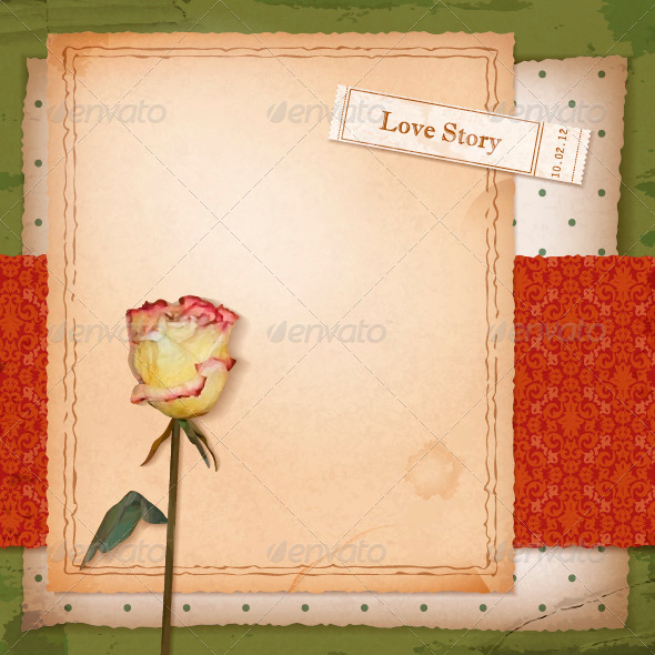 Scrapbook Old Paper Background with Dried Rose - Backgrounds Decorative