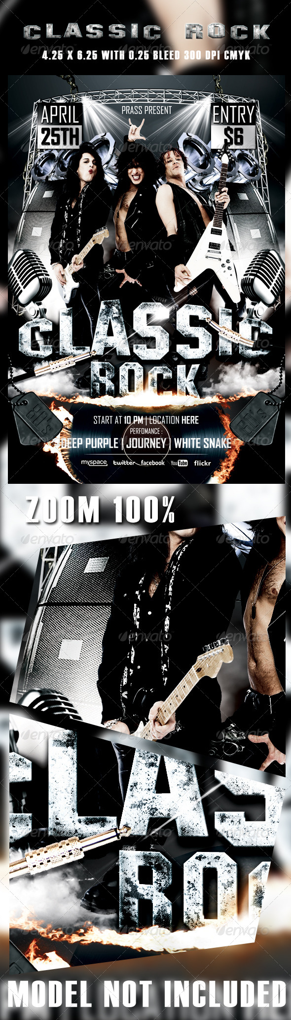 Classic Rocker Flyer Template - Concerts Events